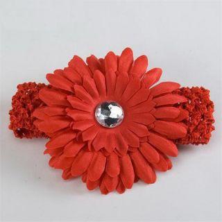 Vivid Red Baby Girls Crochet Headband Daisy Flower Hair Clip Free