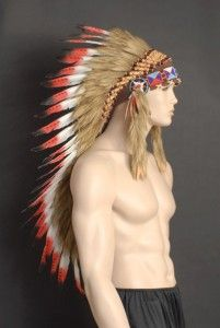 Deluxe Red Native Indian Chief Feather Headdress 80cm Long Red Tip
