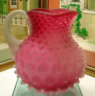 EAPG Hobbs Cranberry Dew Drop Hobnail Satin Glass Frosted Handle