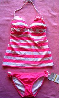Pink White Two Piece Flower Tankini Swimsuit Swimwear Bathing Swim