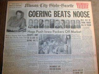 Best 1946 Headline Newspaper Nazi Leaders Executed Death by Hanging