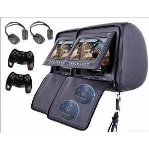 2X 7 inch Car Headrest DVD Player Radio TV Monitor Headphones Game