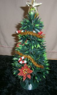 Vintage Holiday Plastic Green Decorated Christmas Tree Red White