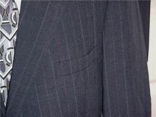 420 Sharp Macys Hardwick Navy Blue Pinstripe Business Suit Sz 46 R