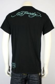 100% Auth Brand New Ed Hardy Panther Jumping Basic Black T Shirt Tee