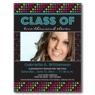 Neon Lights Graduation Announcement (aqua) Post Cards