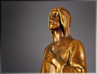 Antique Hans Muller 1920s VIENNA BRONZE Jesus SCULPTURE, Gilded Bronze