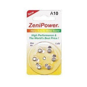 Zenipower Hearing Aid Battery Size 10 Six Batteries