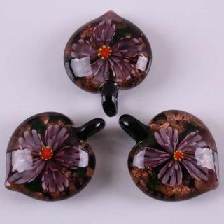 Murano Lampwork Glass Flower Butterfly Pendant Bead 1pc