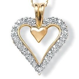 Gold Diamond Accent Heart Shaped Pendant Charm Necklace Chain