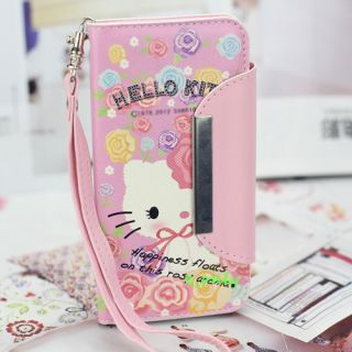 Style Candy PU Wallet Card Flower Hello Kitty Hard Case Cover for