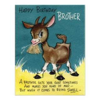 Brother   V Retro Happy Birthday Card Custom Invitation