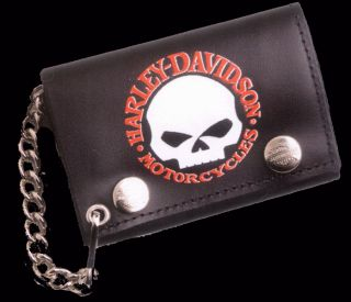 Harley Davidson Skull Trifold Leather w Chain Wallet