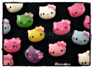 50pcs Hello Kitty Cats Bow Flat Back Cabochons F424