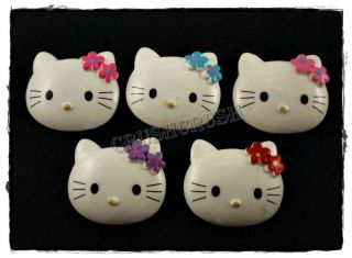 8pcs Big Hello Kitty Cats Bow Flat back Cabochons Rhinestone F557