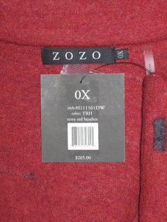 0X Zozo Terra Red Heather Boiled Wool Jacket $265