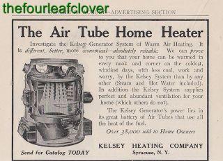 Kelsey Heating Air Tube Heater Syracuse NY Ad 1910 RARE