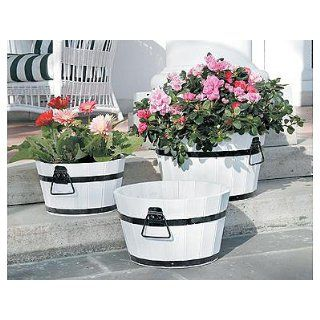 Mothers Day Gift White Finish Barrel Planters   Set of 3