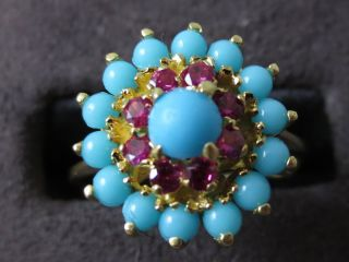18kt Yellow Gold Turquoise Ring with Syn Rubies