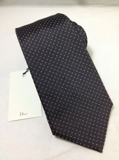 Dior Homme Hedi Slimane RARE Charcoal Gray Silver Dots Hand Made Tie 3