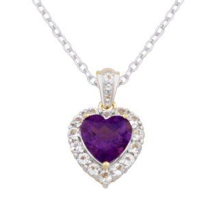 Sterling Silver Amethyst and White Topaz Heart Pendant Necklace, 18