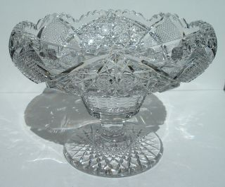 glass footed Bowl Compote American Brilliant Antique Crystal J Hoare