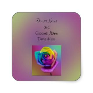 Rainbow Rose Flower Wedding Square Stickers