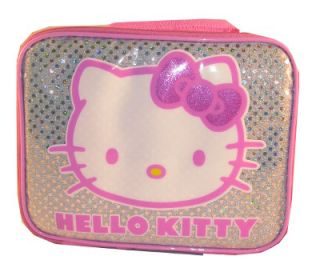 Hello Kitty Face Sequin Glitter Bow Back to School Lunch Box Bag
