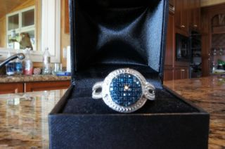Bold Blue Diamond Ring in Sterling Silver