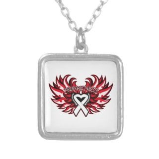 Lung Cancer Awareness Heart Wings Necklaces