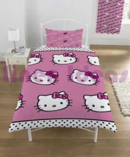 Hello Kitty Stripe Single Bedding Duvet Quilt Cover Set