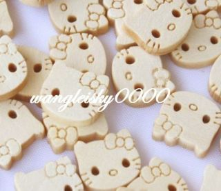 100x Hello Kitty Cartoon Wood Buttons Craft Sewing