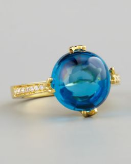 Frederic Sage Jelly Bean Blue Topaz Ring, Yellow Gold