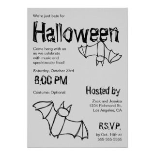 Vampire Bat Halloween Party Invitation