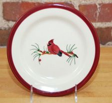 Cardinal Hartstone Pottery Desert Plate~Handcrafted & Hand painted in