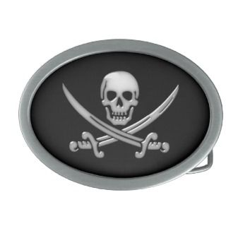 Pirate Skull & Sword Crossbones (TLAPD) Oval Belt Buckle