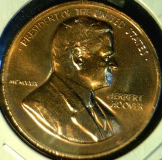 Herbert Hoover US MINT INAUGURATED Commemorative Bronze Medal   Token