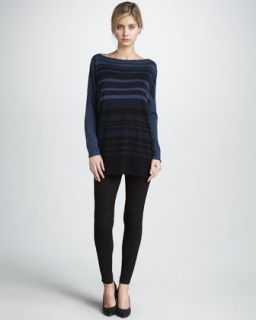 Vince Striped Boat Neck Sweater & Solid Pajama Pants