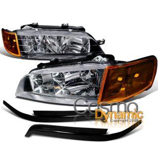 94 97 Honda Accord Black Headlights w Corner ABS Eyelid Eyebrow
