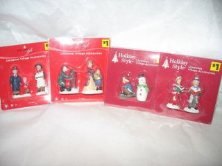 Holiday Style Christmas Village Accessories People Figures Lot of 4