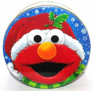 Elmo Sesame Street Friends Christmas Cookie Tin Box Container Canister