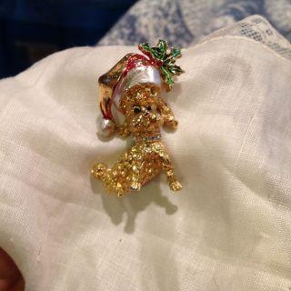 Dog Wearing Santa Hat Poodle Brooch Pin Rhinestone Colar