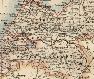 Holland Authentic 1889 Map Showing Cities Rivers Ports Topography RRs