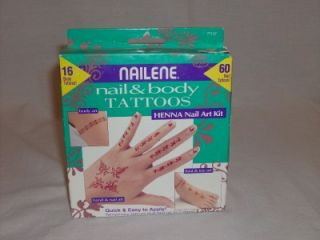 nailene henna nail body art temporary tattoos set
