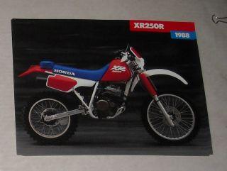 1988 Honda XR250R Motorcycle Dealer Brochure Catalog