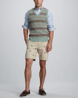42T6 Polo Ralph Lauren Fair Isle Sweater Vest, Custom Fit Button Down