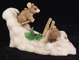 charming tails hot doggin mice snow skiing figurine by dean griff fitz