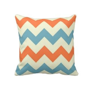 Orange blue chevron zigzag stripes zig zag pattern throw pillows