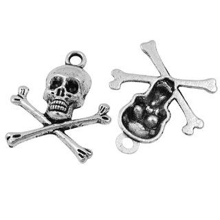 DIY Jewelry Making 12 pcs Tibetan Silver Skull Pendant