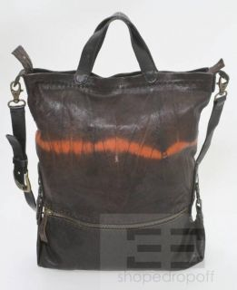 Henry Beguelin Brown Black Orange Distressed Leather Crossbody Bag